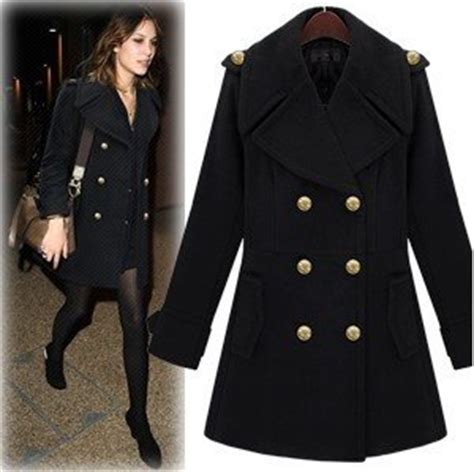 women's double breasted Wool Coat with shoulder loop